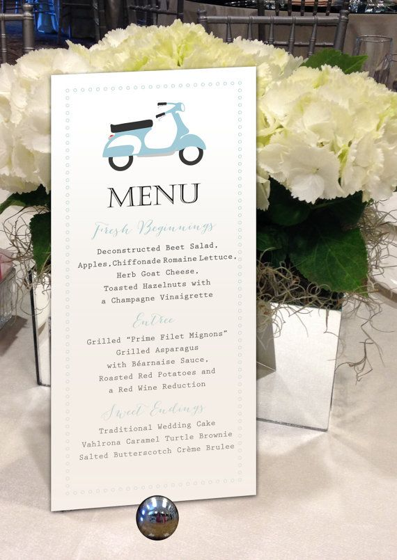 "Scooter Menu, Vespa Menu, Motorbike Menu, Whimsical Menu, Retro Menu for your Wedding, Party or Special Event - finished size 4.25"" x 9"""