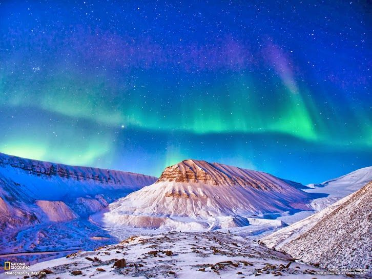 Aurora Borealis over Svalbard photo by Max Edin / NatGEO