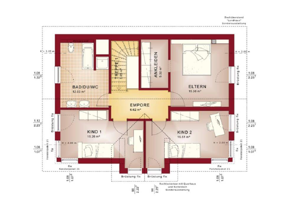 Grundriss Einfamilienhaus Evolution 148 V4_Bien Zenker_Dachgeschoss Grundriss  Schlafzimmer Ankleide Kinderzimmer Bad   Weitere Haus Ideen Und