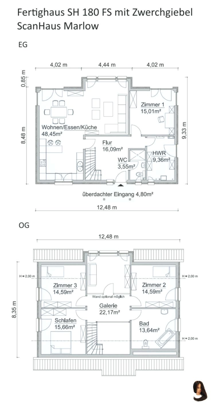 Photo of Floor plan of a single-family house, modern construction with gable roof architecture
