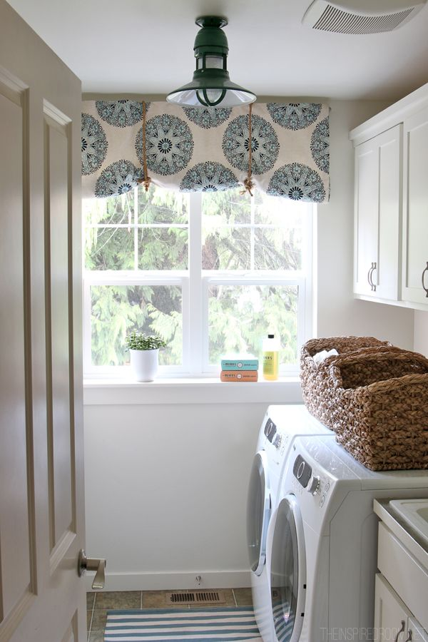 White Laundry Room Makeover Progress Green Barnlight And Diy No Sew Rolled Fabric Shade