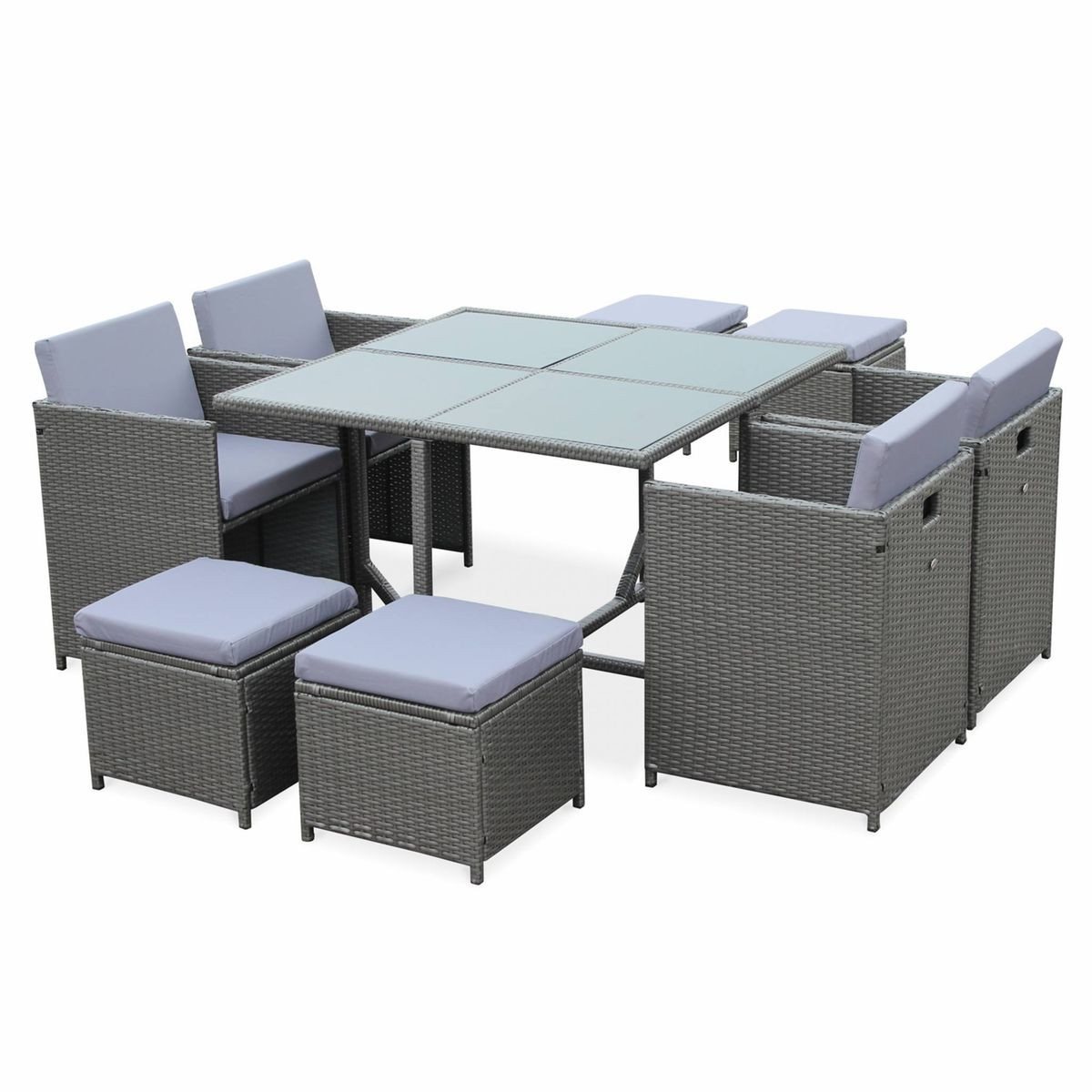 Salon De Jardin Cubo Gris Table En Resine Tressee 4 A 8 Places