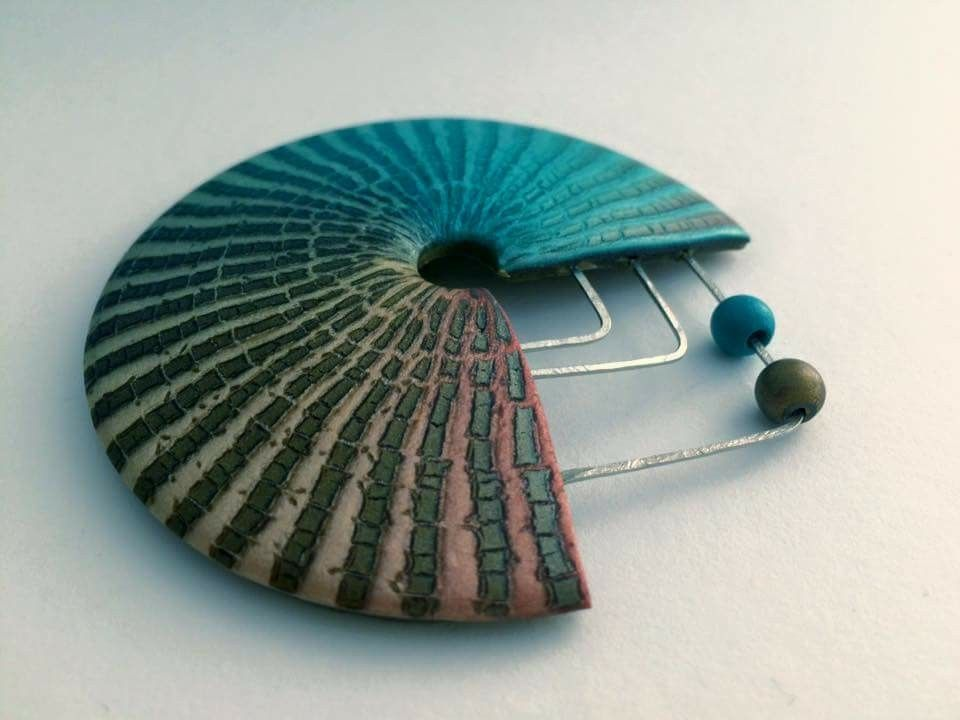 Polymer clay pin brooch, modern broach, mixed media jewelry, clay ...
