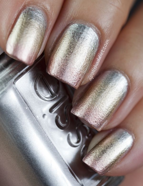 Love this. Metallic gradient nails using Essie - No Place Like Chrome, Good As Gold & Penny Talk