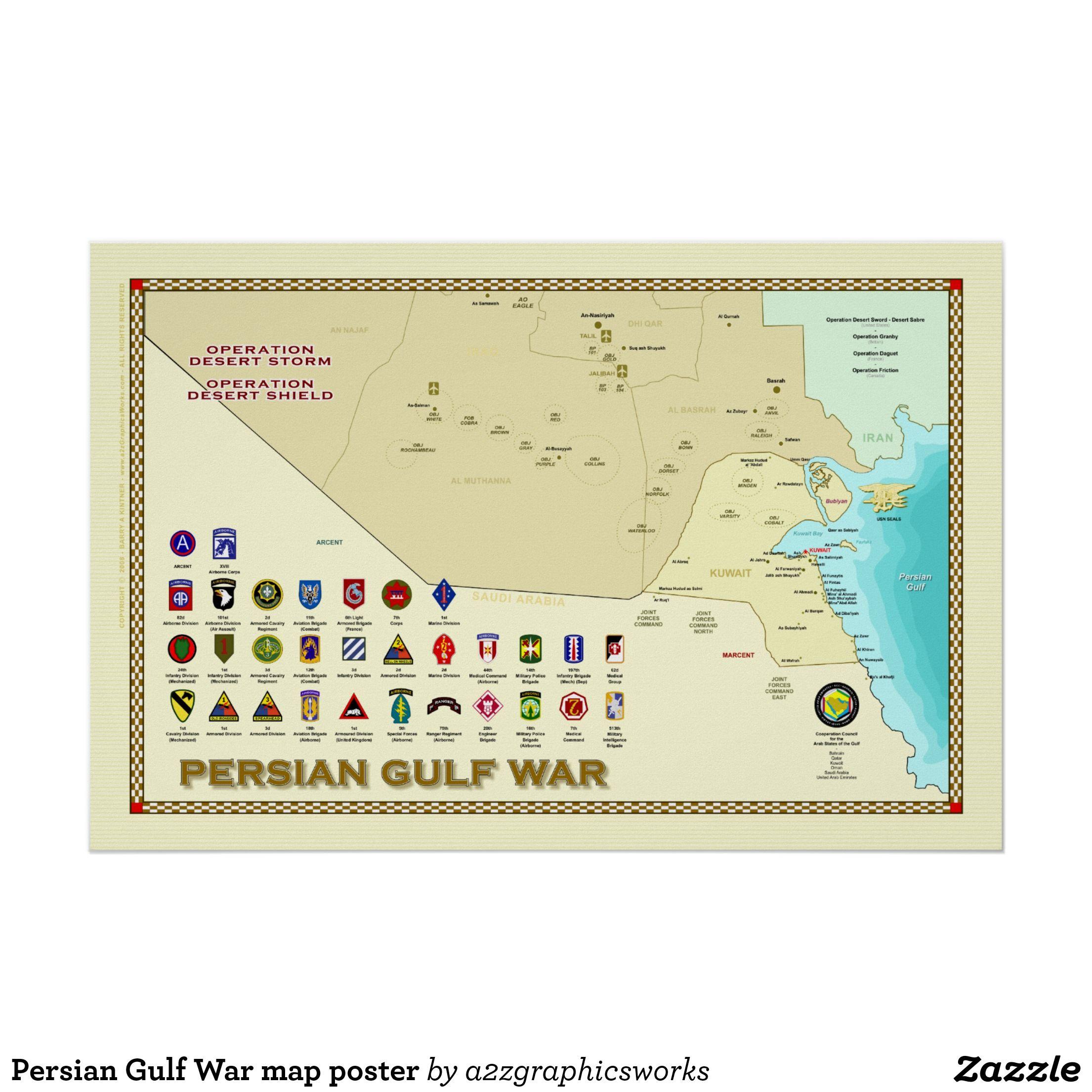 Persian Gulf War Map Poster