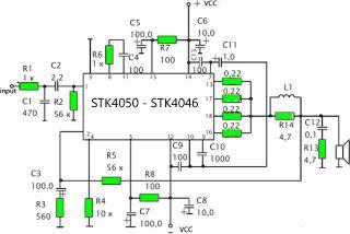 stk 4050 200watt power amplifier circuit circuit diagramschematics amplifier stk4050 stk4046
