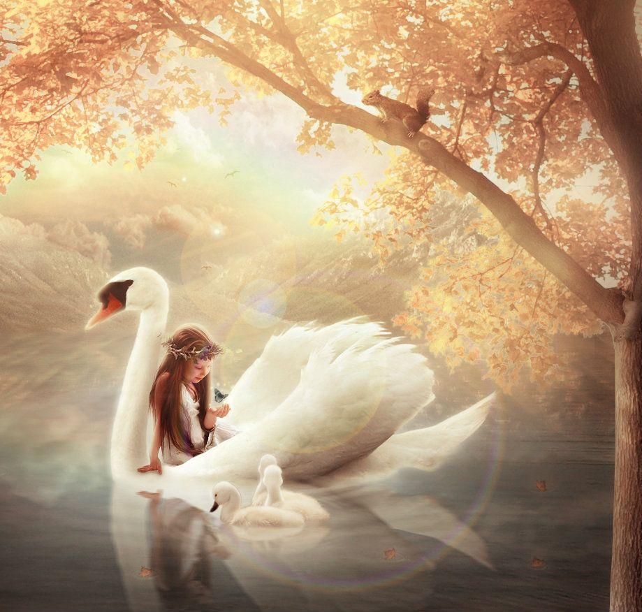 Fantasy In 2019 Swan Painting Fantasy Forest Fantasy
