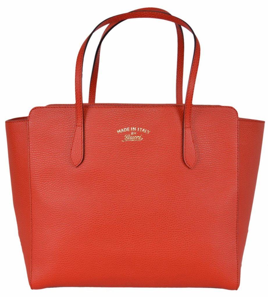 NEW Gucci 354408 SMALL Red Textured Leather Trademark Logo Swing Tote Purse