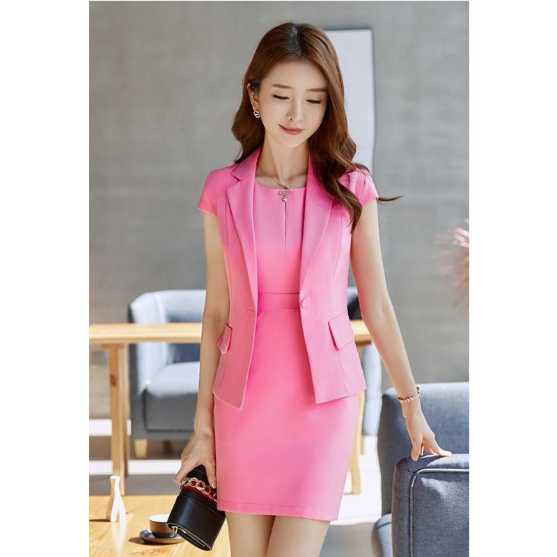 2018 Summer Women Suits 2 Pieces Blazer Dress Professional OL Short-Sleeve  Dress Suits Business Office Lady Work Uniform Suit c0c86bf1fcf4