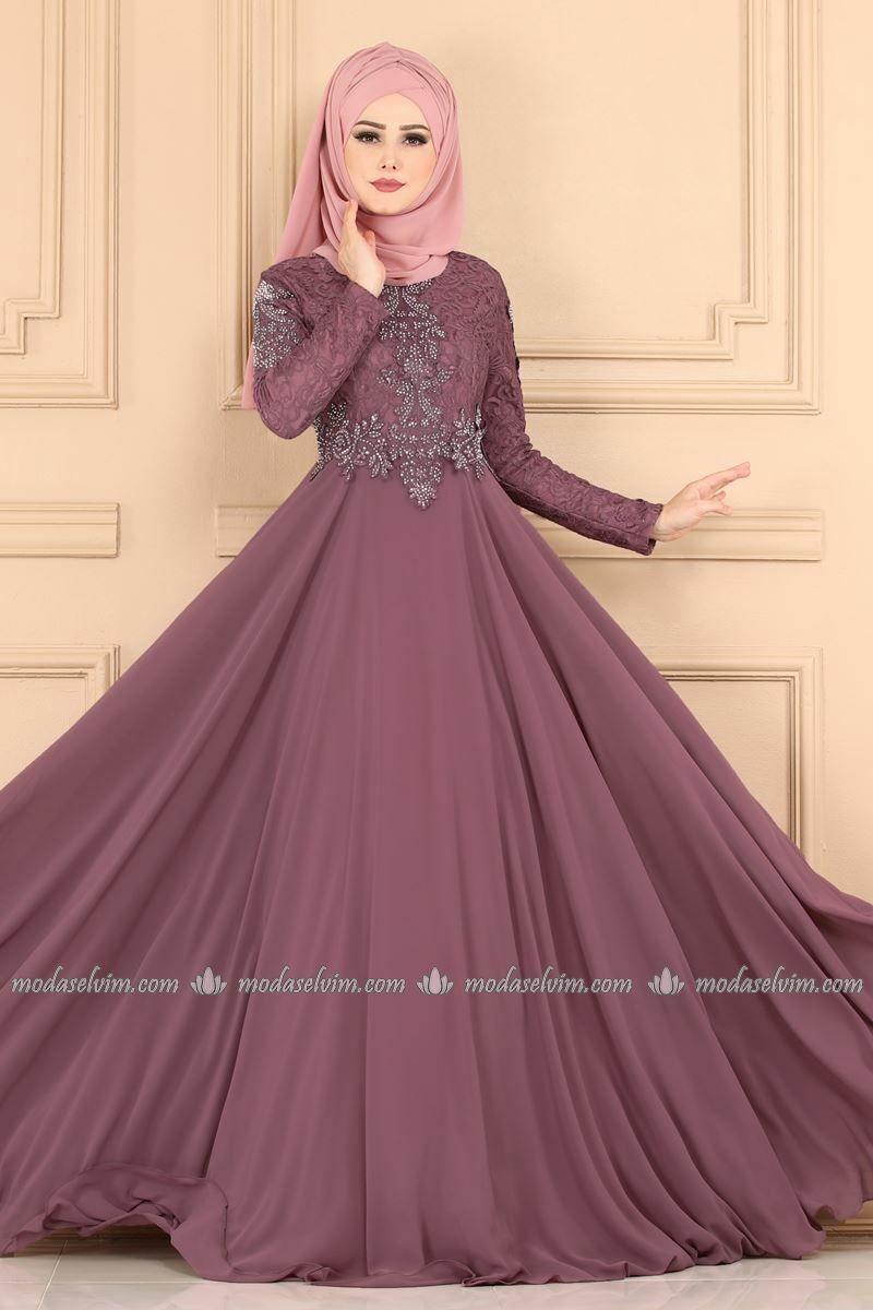 Gupuru Tasli Tesettur Abiye Pn2019 5 Gul Kurusu Moda Selvim Musluman Modasi Moda Stilleri The Dress