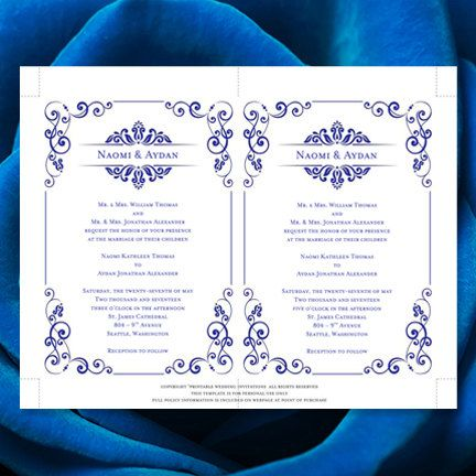 Wedding Invitation Template Julia Royal Blue Printable Worddoc - Make your own wedding invites templates