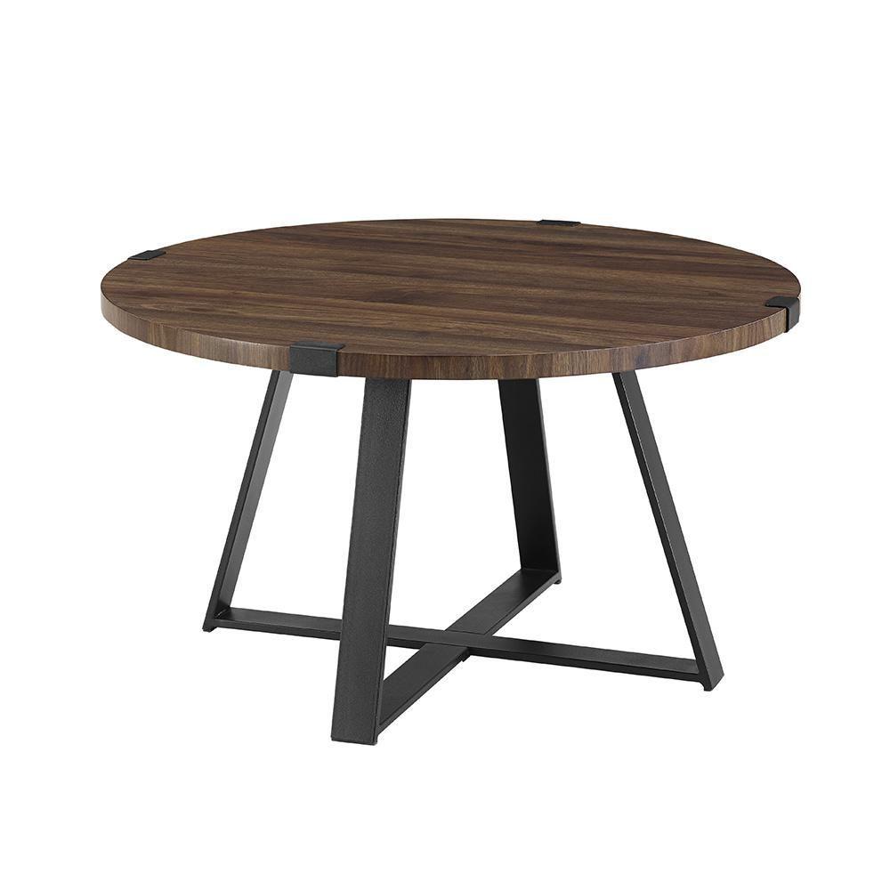 Rustic round coffee table  in dark walnutblack rustic urban industrial wood and metal wrap