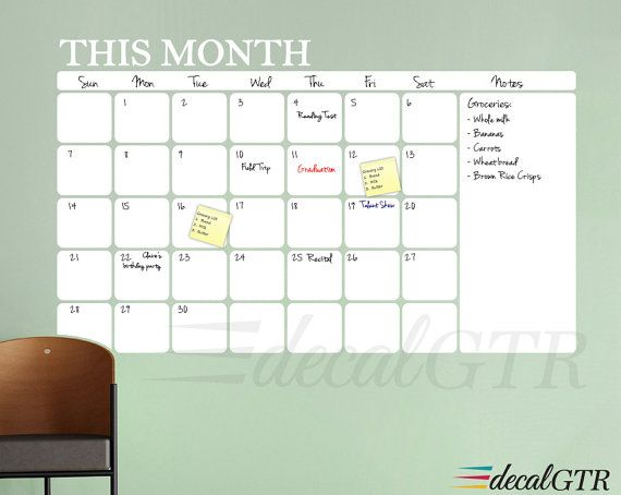 Adhesive Backed Dry Erase Wall Decal Calendar With Rounded Corners