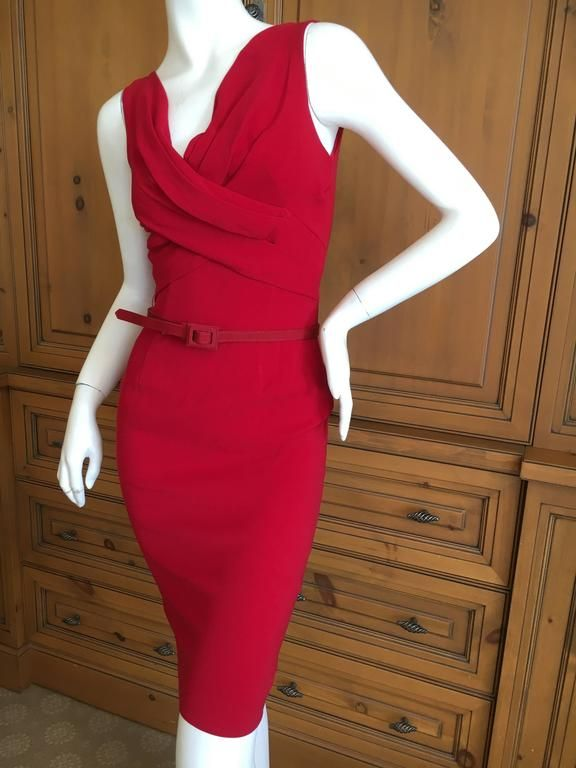 Christian Dior by John Galliano Red Belted Dress 1990