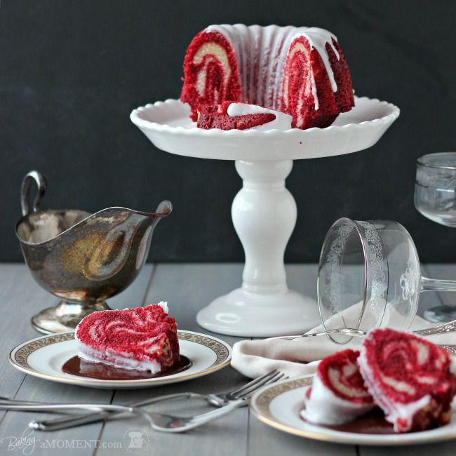 Red Velvet Zebra Bundt Cake for Two | Baking a Moment
