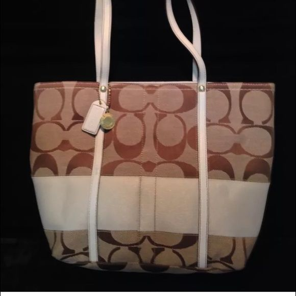f1c3f1ef07 COACH Signature Legacy Tote Khaki Bag 11098 Height 9