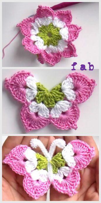 3D Crochet Butterfly Free Pattern-Video | Crochet Flowers ...