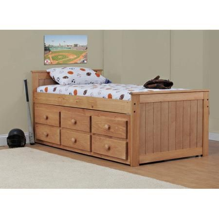 Wildon Home Twin Captain Bed With 6 Storage Drawers Walmart Com
