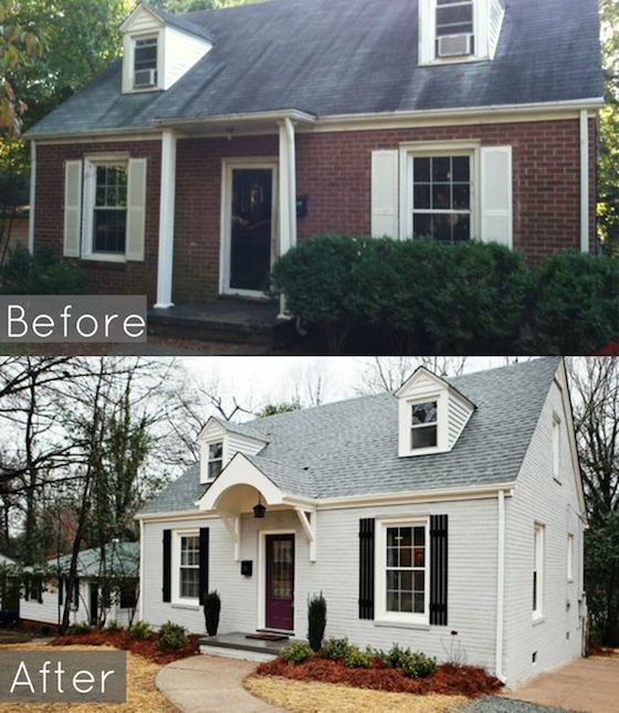 Before After 1950 S Cape Brick Exterior House Painted Brick House Home Exterior Makeover