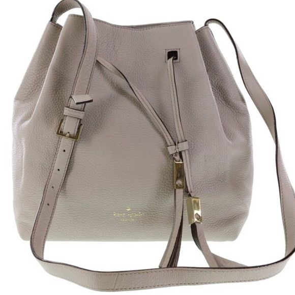 GREY STREET COOPER DRAW STRING HANDBAG TOTE PURSE , CROSS BODY OR SHOULDER IN CLOCKTOWER. , BY KATE SPADE.. PEBBLED LEATHER, ADJUSTABLE SHOULDER BELT, INTERIOR POCKET FOR CELL PHONE, AN INTERIOR ZIP POCKET , 11/5 (H)  X 11.5 (W)  X  (D) ..NWT.... kate spade Bags Crossbody Bags