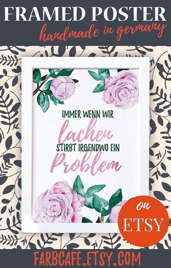 Poster mit Rahmen A4 Immer wenn wir lachen stirbt irgendwo | ☆ Etsy ...