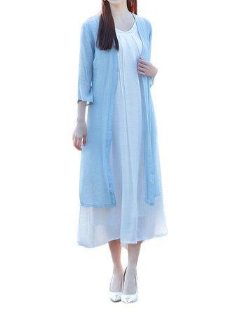 Women Casual Solid Color Linen Cotton Slit Long Outerwear Cardigan
