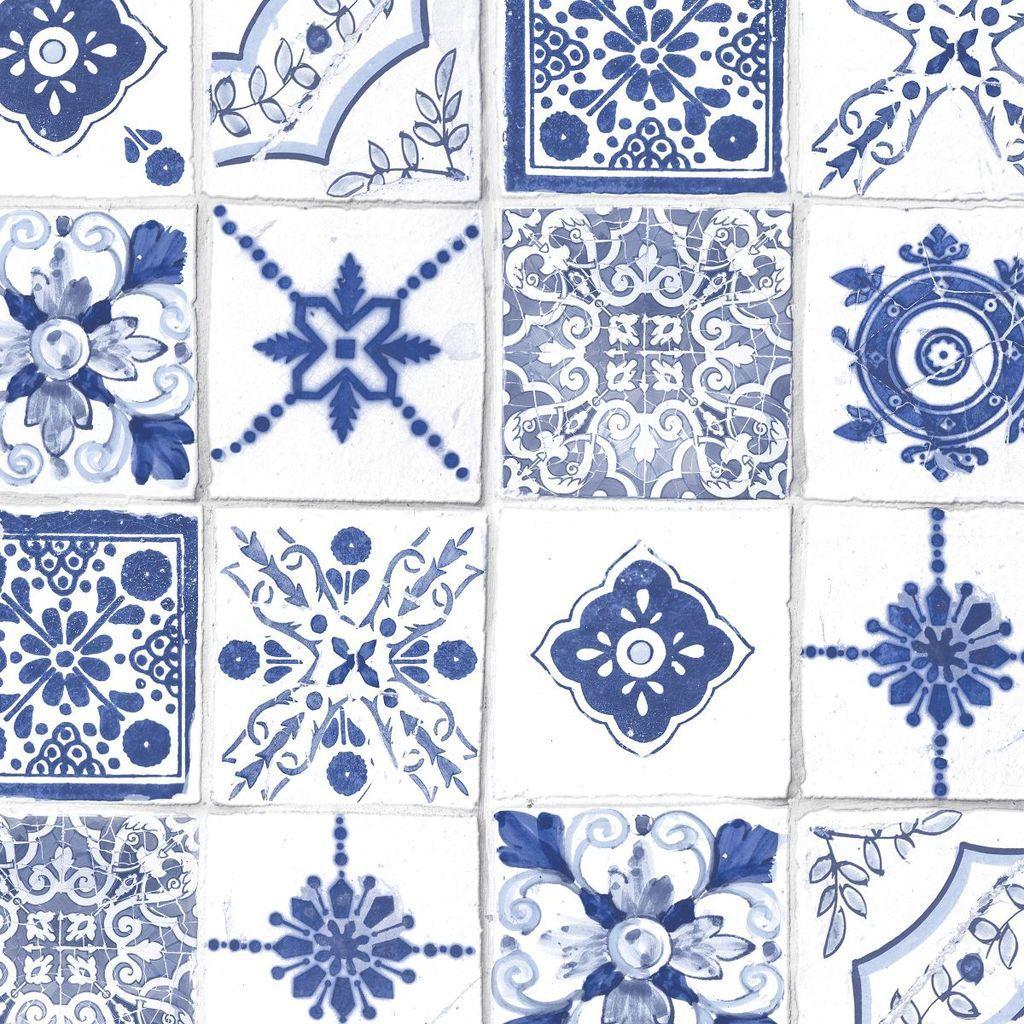 Rustic Moroccan Tiles Blue Tile wallpaper, Morrocan