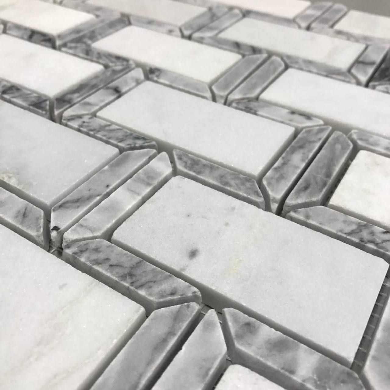 Carrara Marble W Gray Border Frame 2 X 4 Mosaic Tile On Sale 9 97 Per Square Foot With Images Carrara Marble Mosaic Tiles Carrara
