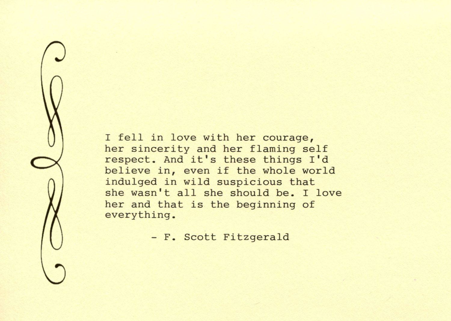 F. Scott Fitzgerald Quote Made on Typewriter Art Quote Wall Art - I ...
