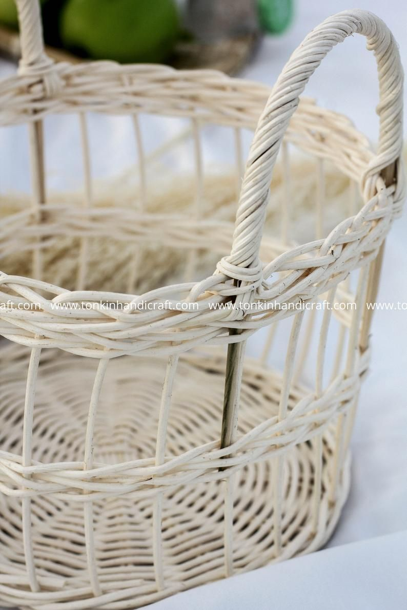 May White Rattan Bamboo Handwoven Round Severing Food Storage Etsy