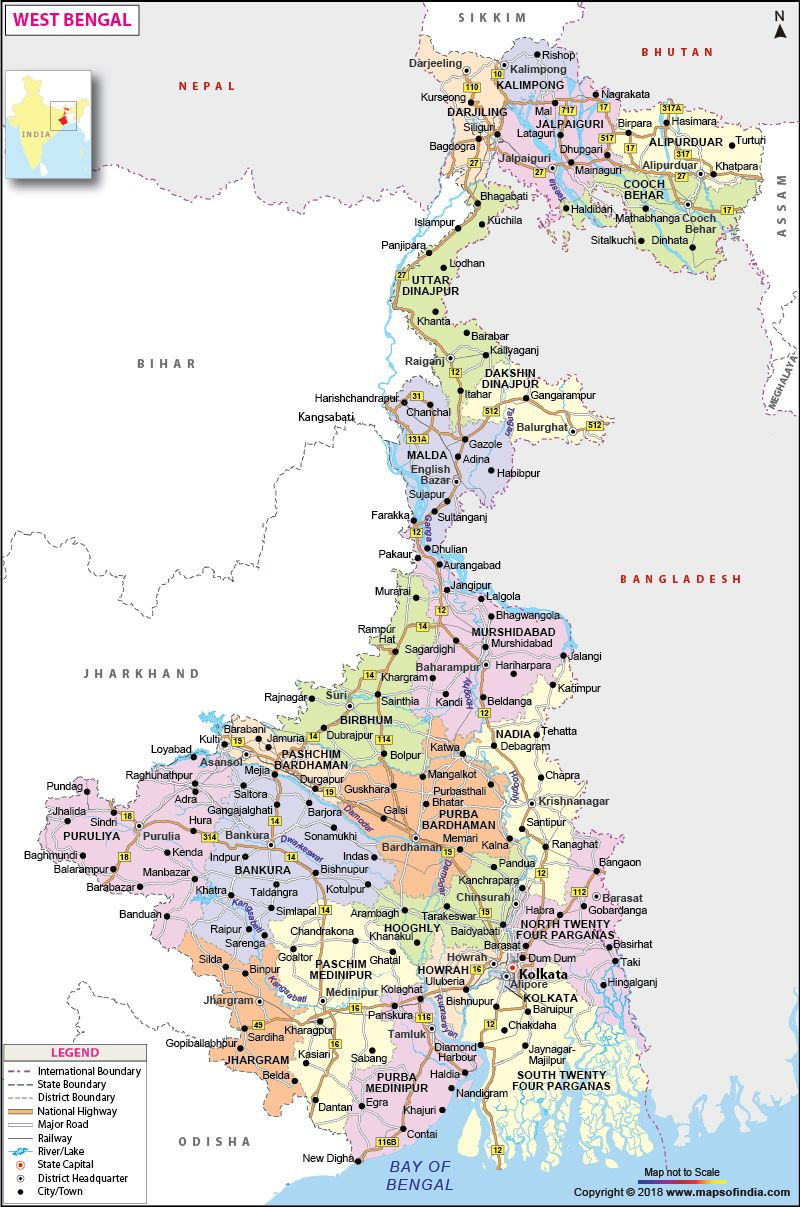 West Bengal Map Airport Map Route Map Political Map