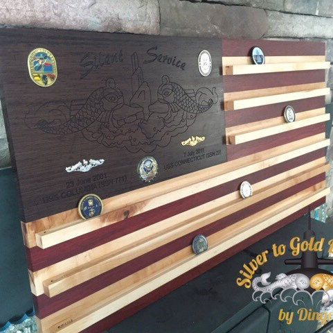 Customizable Wall Mounted Hardwood American Flag Coin Holder in 2019