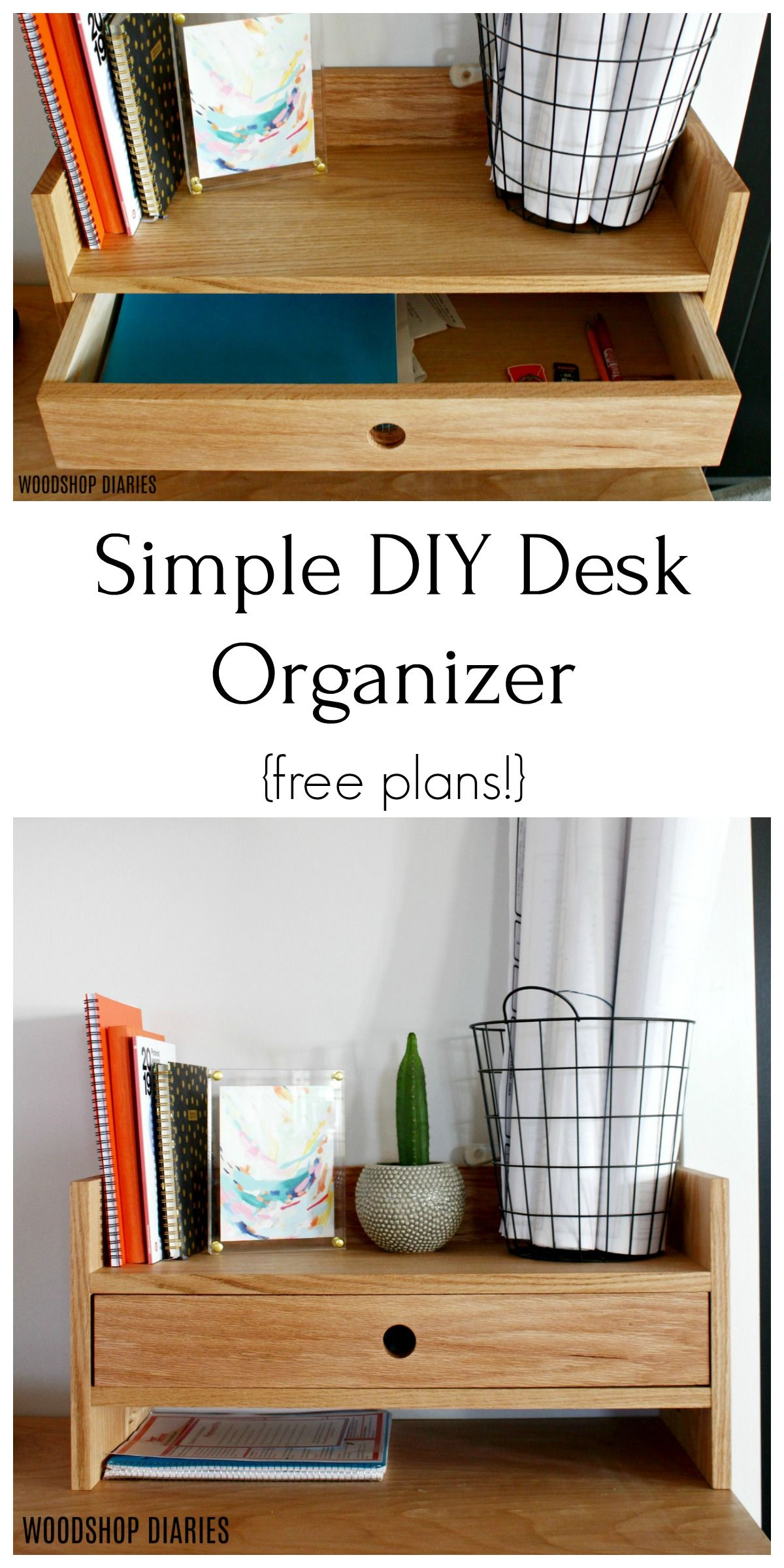 Simple Diy Desk Organizer In 2020 Desk Organization Diy Small Desk Organization Diy Wood Desk