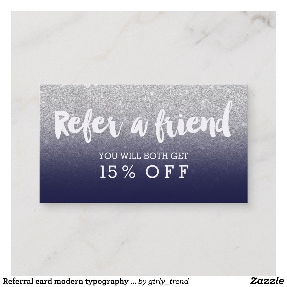 Referral card modern typography navy blue silver in business