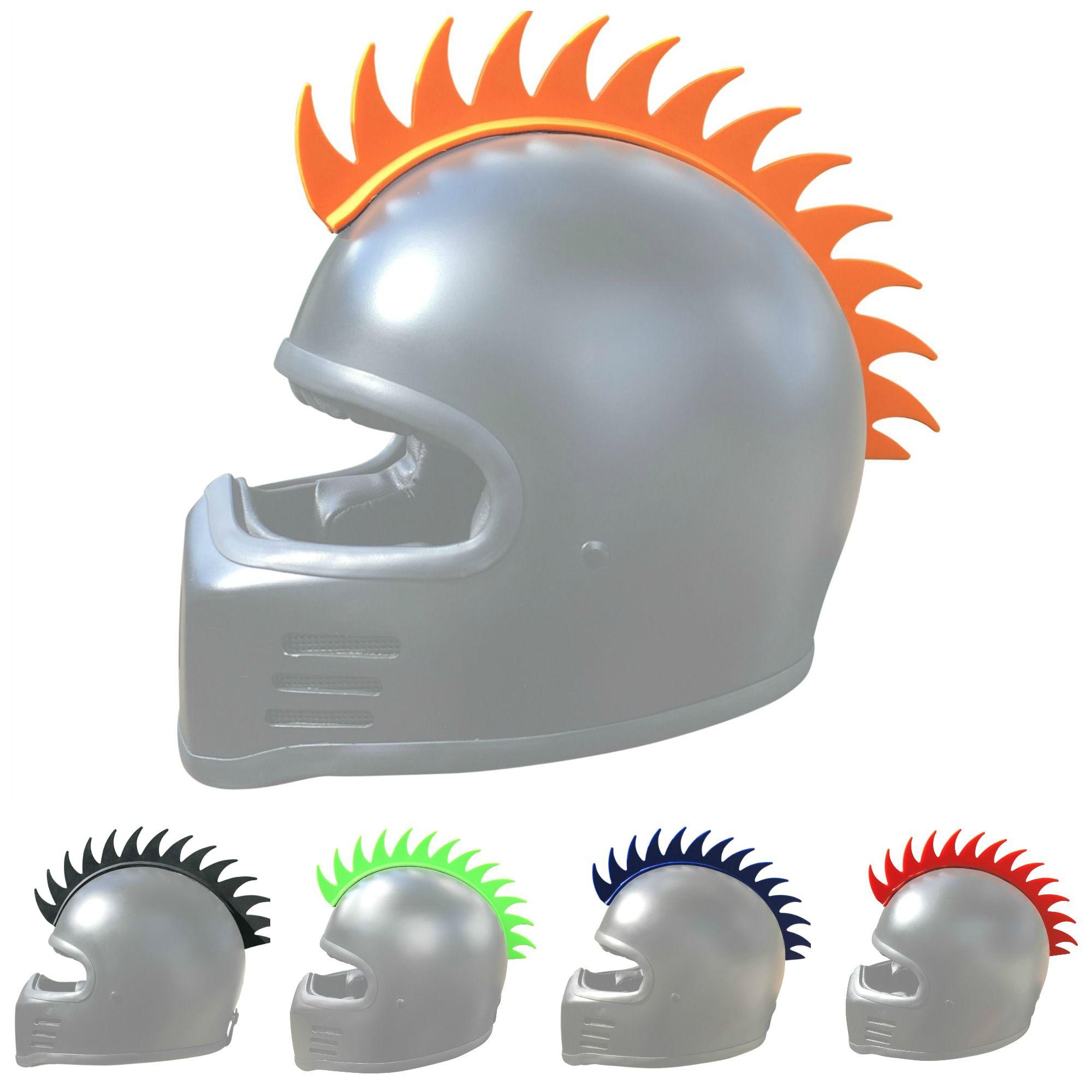 Motorcycle helmet sawblade mohawk accessory orange motorcycle