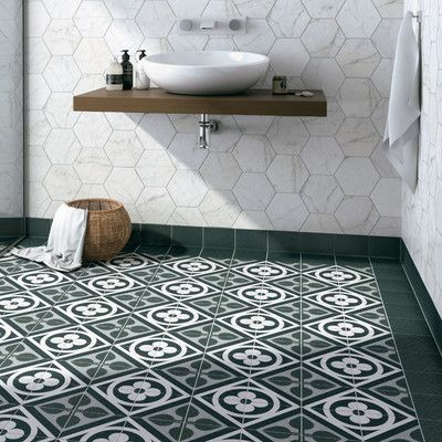 "elitetile region 6"" x 6"" porcelain field tile in black"