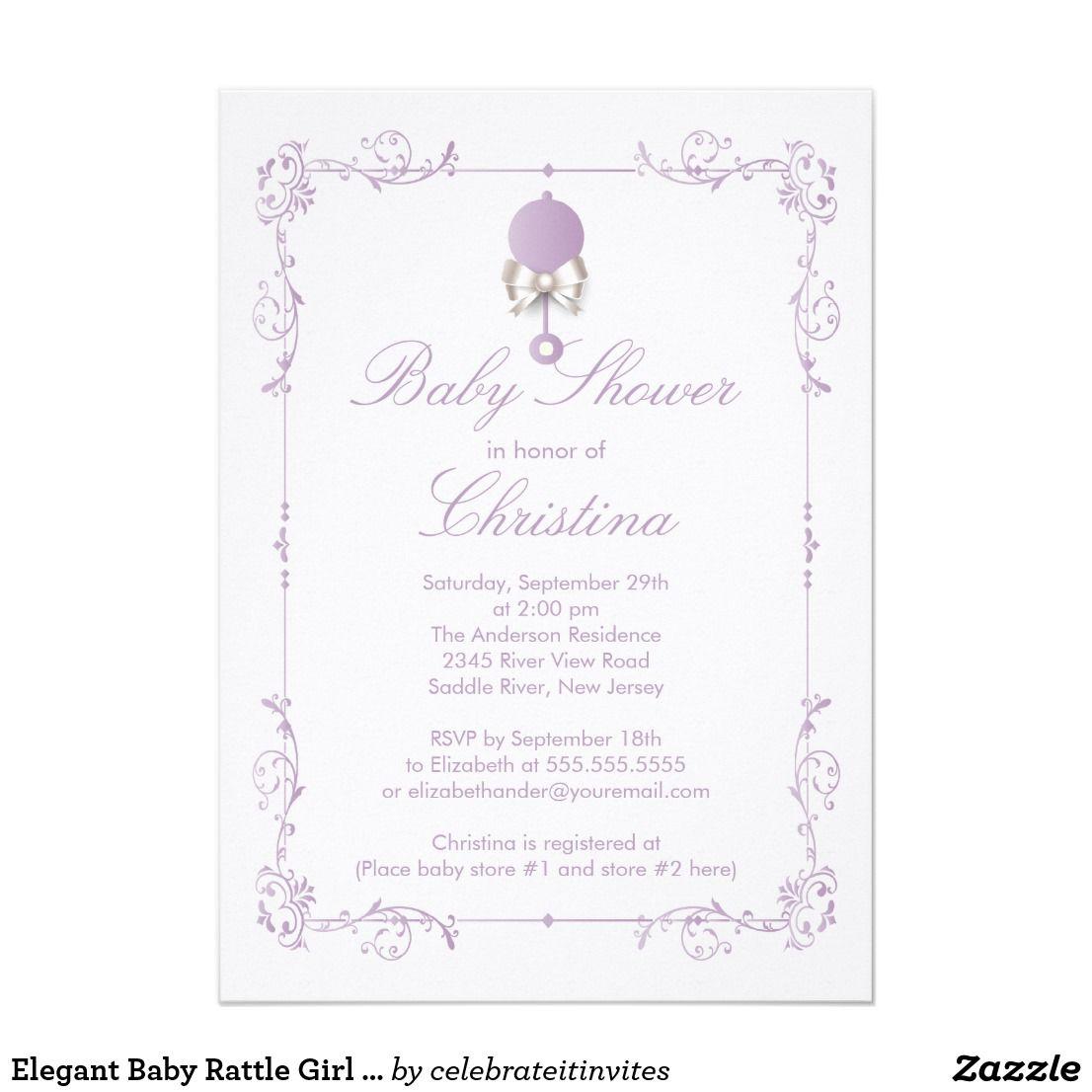 Elegant Baby Rattle Girl Baby Shower Invitation | Shower invitations