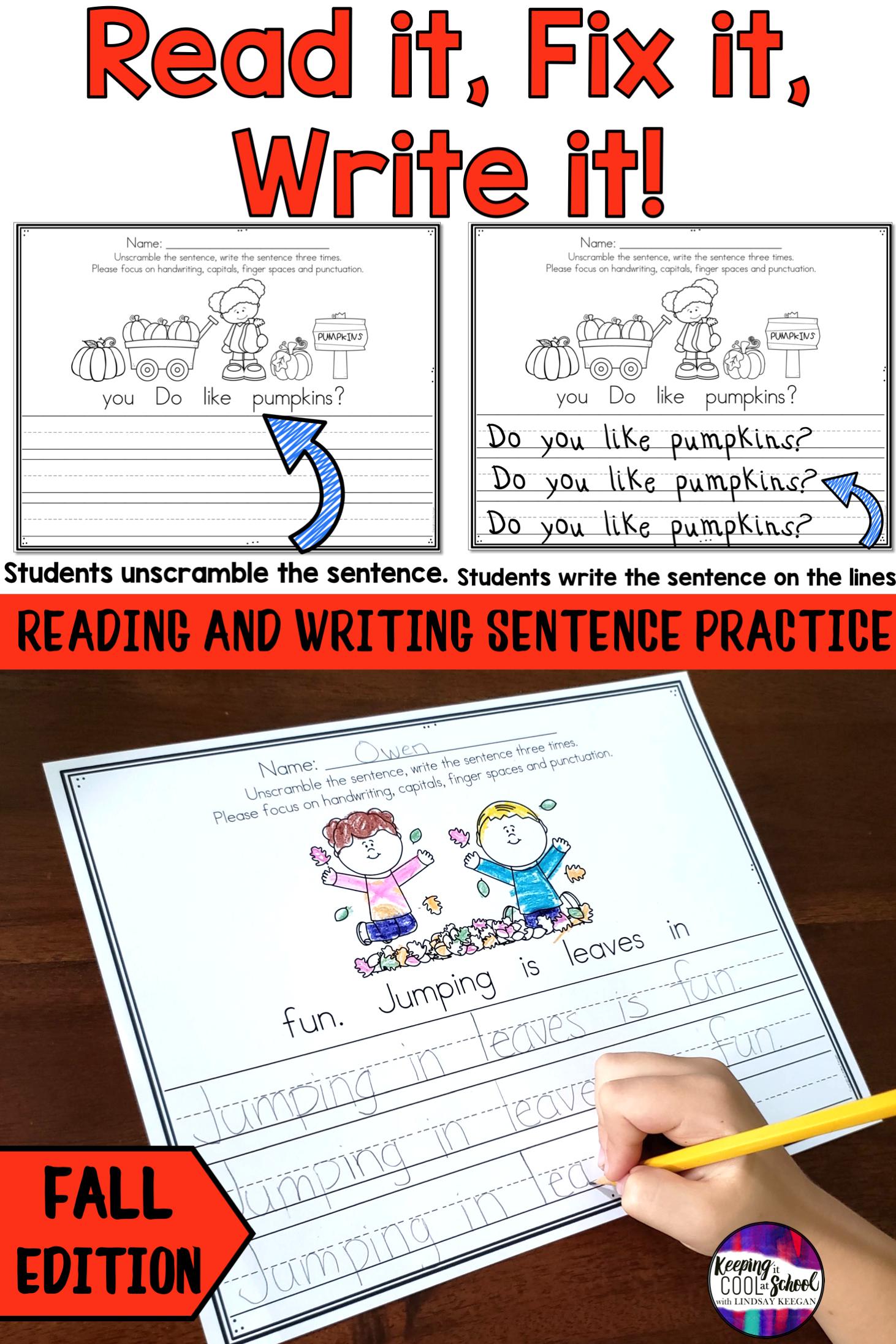 Fall Sentence Writing Practice