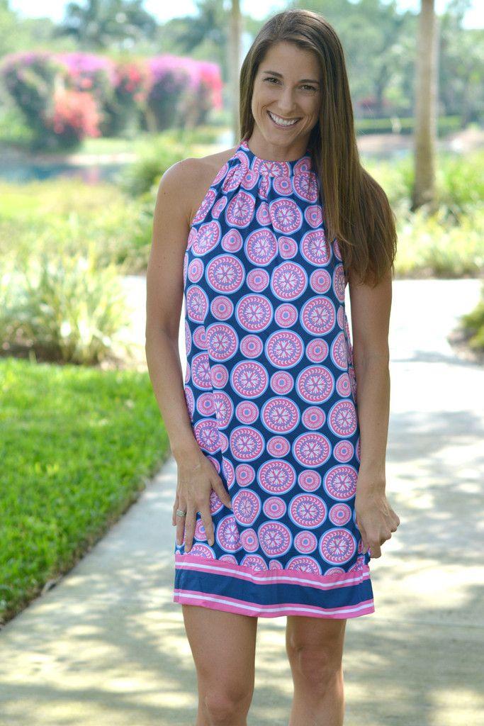 SEASIDE CRUSH Pink Navy Pinwheel Mud Pie Dress - Shop Simply Me ...