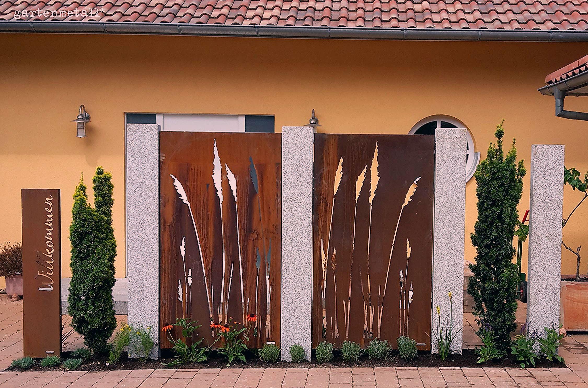 Photo of Sichtschutz Vista aus Cortenstahl zwischen Granitstelen – My Blog