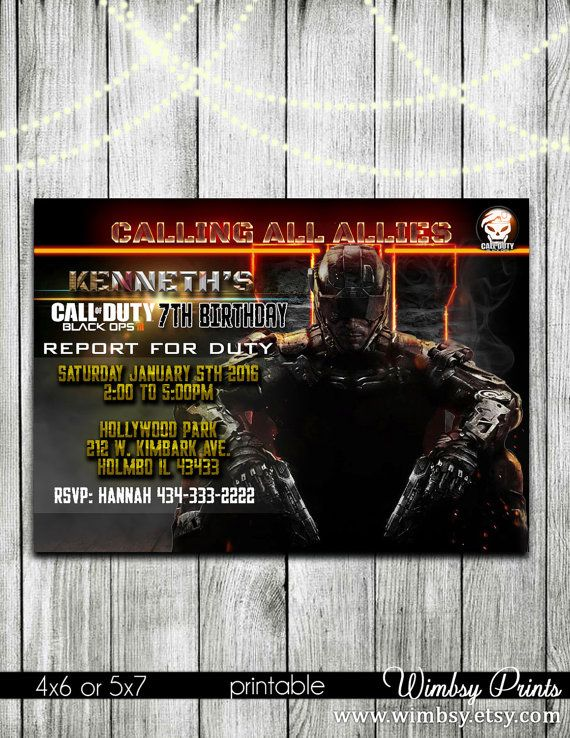 Call of duty black ops 3 birthday invitation black ops 3 by wimbsy call of duty black ops 3 birthday invitation black ops 3 by wimbsy jacob pinterest printable party invitations birthdays and printable party filmwisefo Image collections