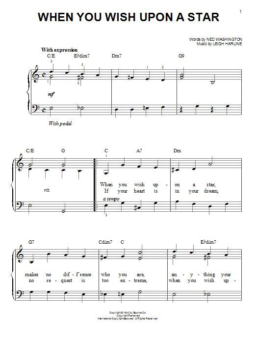 When You Wish Upon A Star Easy Piano Sheet Music Google Search