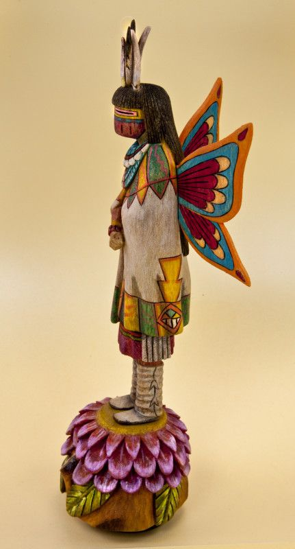 Arizona Hopi Kachina Butterfly Maiden Figure with Head Feathers and Wings on the Back (Profile View)