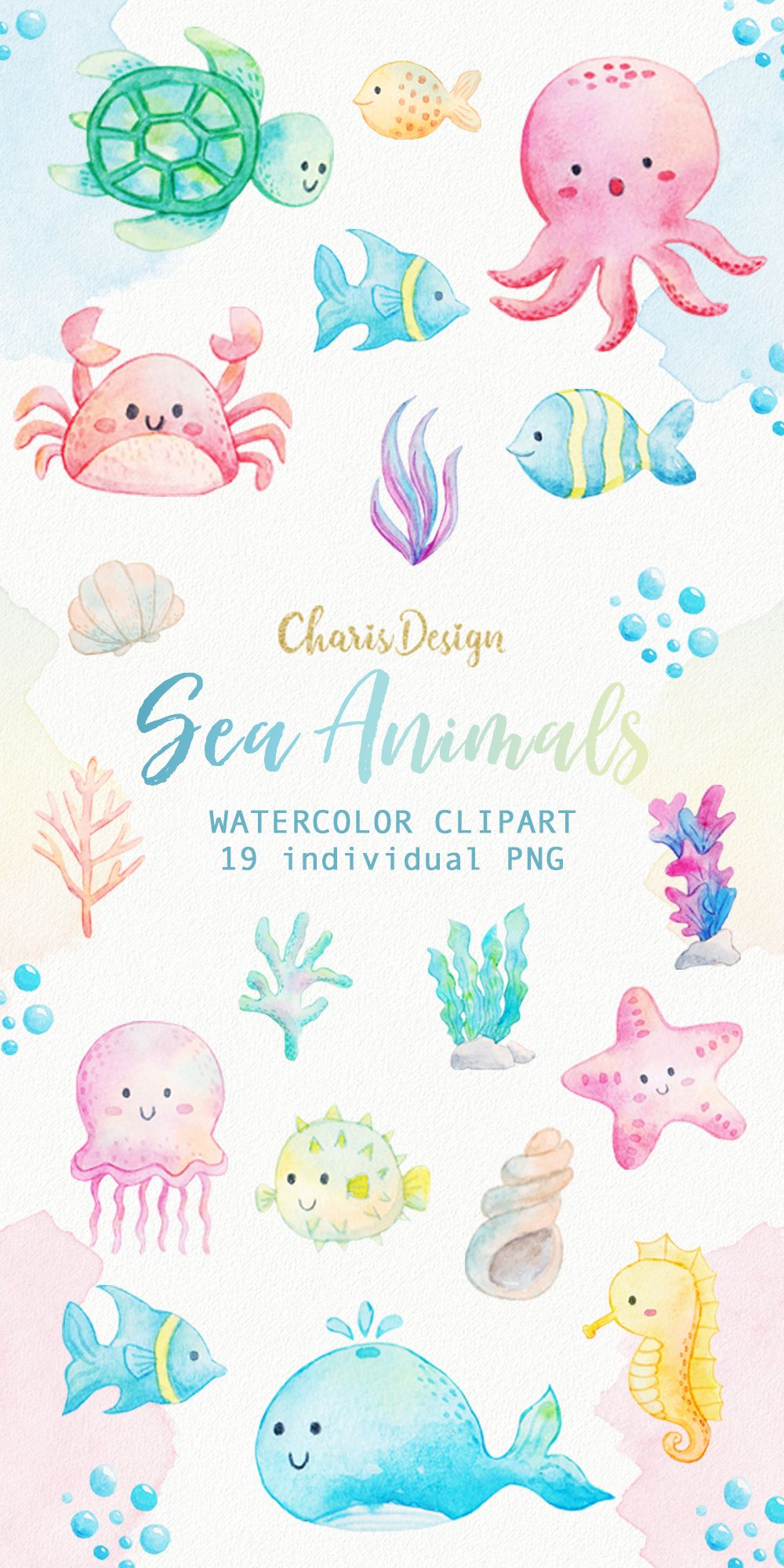 Sea Animals Watercolor Clipart Ocean Seaweed Underwater Fishes