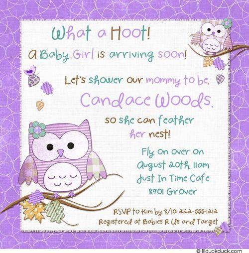 coos baby shower invitation owlish hoots purple u0026 teal baby girl
