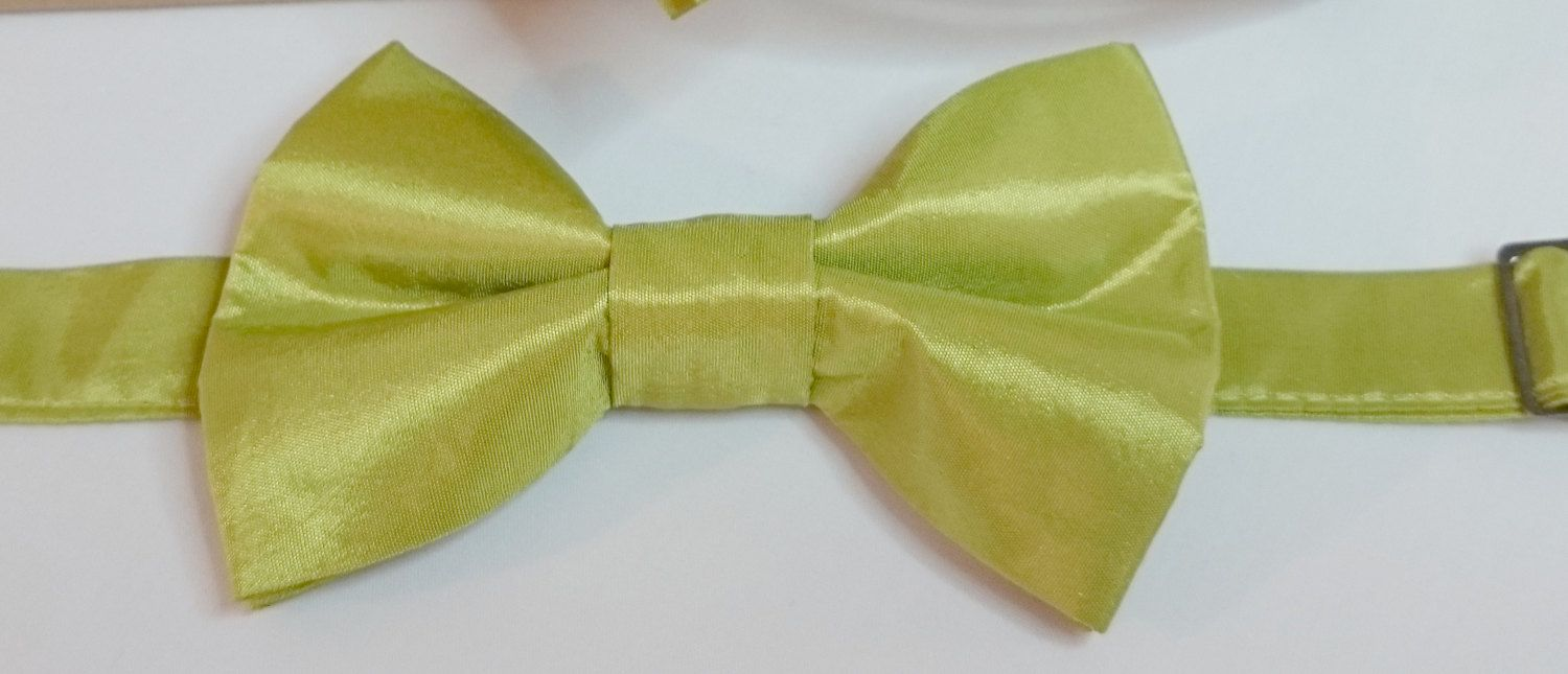 Children's Avocado Green Two-Tone Taffeta Pretied Bowtie Wedding Special Ocassion by HouseOfJdawn on Etsy
