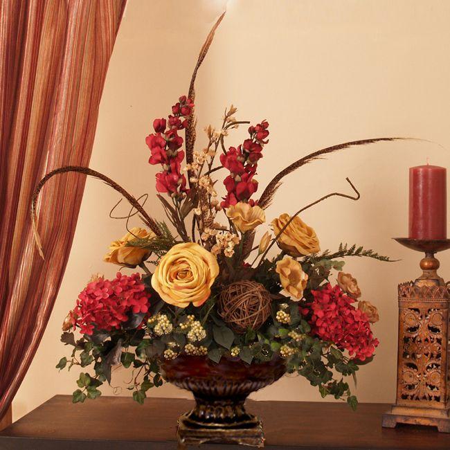 Bon Rose, Hydrangea   Feathers Silk Floral Centerpeice AR281 : Floral Home Decor,  Silk Flowers | Silk Flower Arrangements | Home Accents