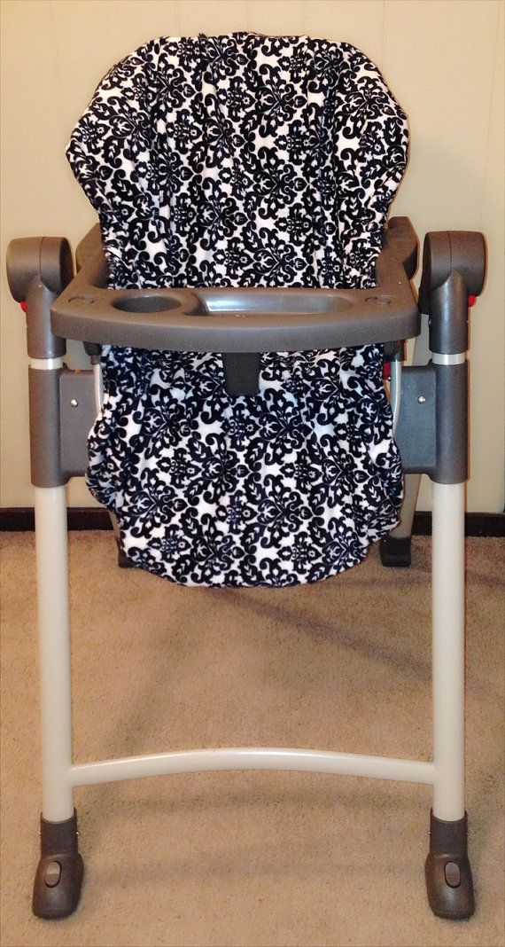 Black  White Damask Minky High Chair Cover by CashAndCari on Etsy, $24.99