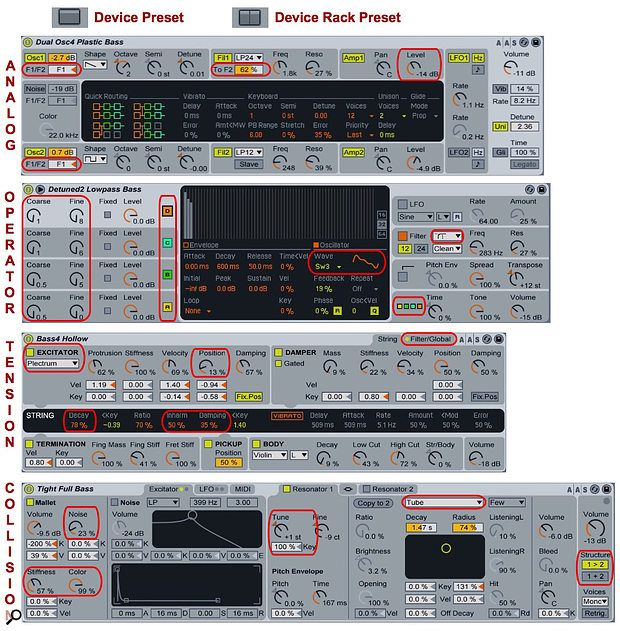 1 These are the bass presets for Analog, Operator