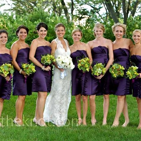 Purple bridesmaids dresses and green bouquets | Our Wedding ...